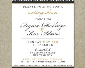 damask wedding shower invitation // couple's shower