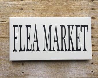 Flea Market sign , Farmhouse Decor , FLEA MARKET , Black & White wood sign , SIGN , Farm , Black , White