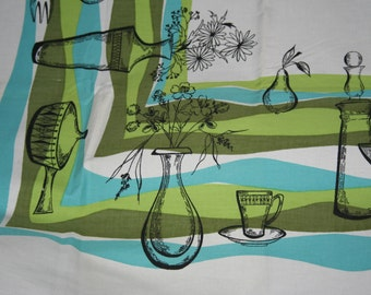 Mid Century Modern Scandia Atomic Print Tablecloth   Aqua and Lime