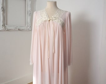 Pale Pink Vintage Sheer Robe Peignoir Lingerie Sz M