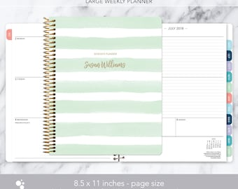 8.5x11 weekly planner 2018 2019   choose your start month   12 month calendar   LARGE WEEKLY PLANNER   mint green watercolor stripes