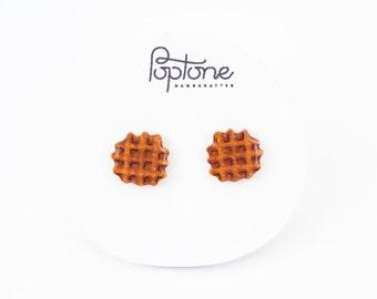 Waffle Earrings, waffle studs, breakfast kawaii earrings, mini waffle jewelry