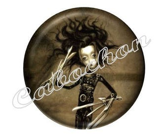 2 cabochon glass 20mm, Edward Scissorhands Gothic