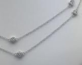 Diamonds By The Yard Sterling Silver CZ Necklace 60 Beautiful Inches