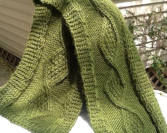 Olive green cable knit scarf, olive green with distinctive diamond cables, celtic knit, infinity length, soft wool blend