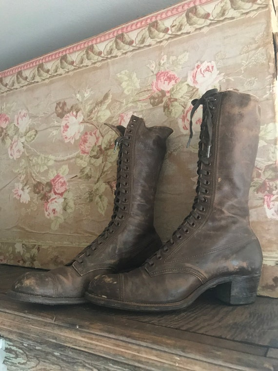 Antique Brown Boots Laces Shoes Victorian 21 Eye Leather qwt1rS85xq