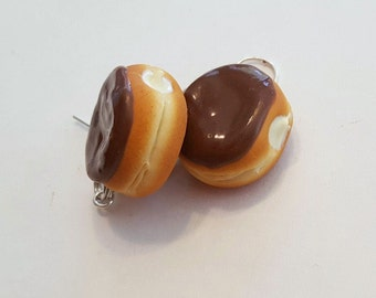 Chocolate Cream Filled Doughnut Dangle Earrings, Polymer Clay Food Jewelry