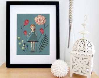Wall art | illustration poster of a young girl jumping in a flowers garden | grey blue with touches of pink | girl artwork | 8'' X 10''
