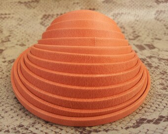 double 5mm flat leather strap orange vintage European quality