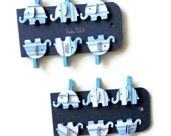 Set of 12 Blue Mini Clothespins with Elephant Embellishment, Favor Tags, Gift Tags - Set of 12 pcs