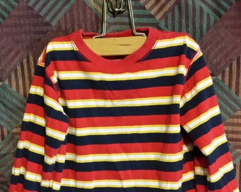 3T - Little boy red and black stripe vintage sweater.