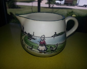 "Antique Early 1930s G S Zell Germany ""Little Dutch Farm Girl"" Cold Paint Creamer"