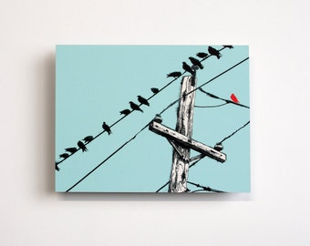 Assimilate- Illustration of Birds on a Wire on Metal