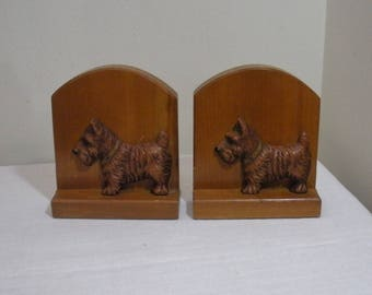 Vintage Wood Syroco Scottie Dog Bookends