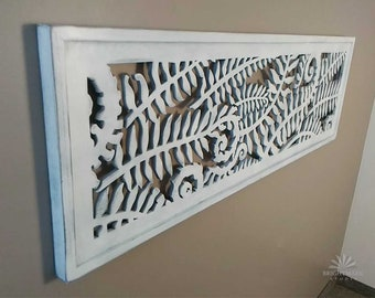 Headboard Panel Large Wall Art, Fiddlehead Ferns Rustic Cottage Decor { A fretwork for upscale rustic decor } Shabby Chic white finish 0495