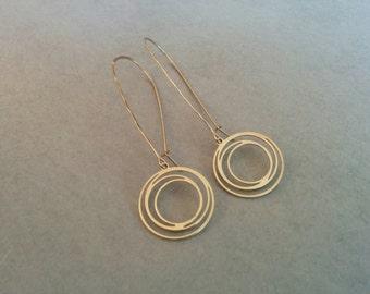 Gold Earrings, Long Gold Earrings, Gold Earrings Dangle, Gold Circle Earrings, Dangle Earrings, Gold Drop Earrings, Long Circle Earrings