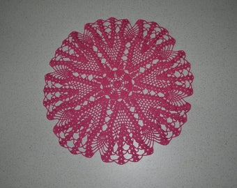Handmade doily 44cm round, pink, made with fine cotton crochet
