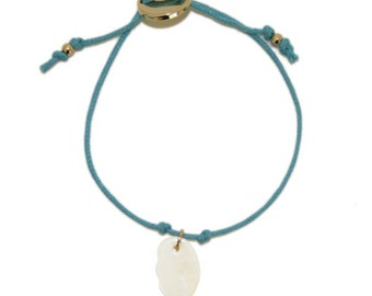 Blue Cotton Cord Bracelet with Mother of Pearl Angel Wing Charm