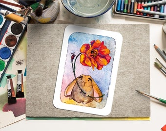 """Printable Greeting Card """"Bunny and poppy"""" Paper Craft PDF, Watercolor, Instant Download, Home Print, Printable Art, for every occasion"""