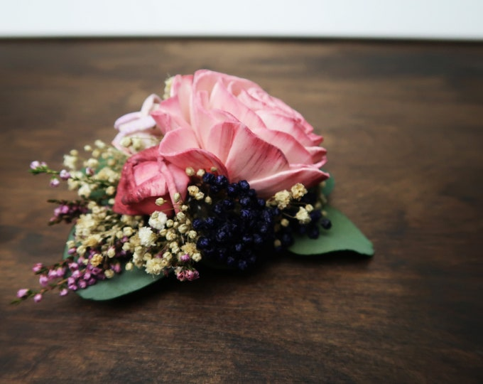 Floral brooch corsage pink sola rose preserved eucalyptus lavender blue rice flowers gypsophila mother of bride corsage vintage style