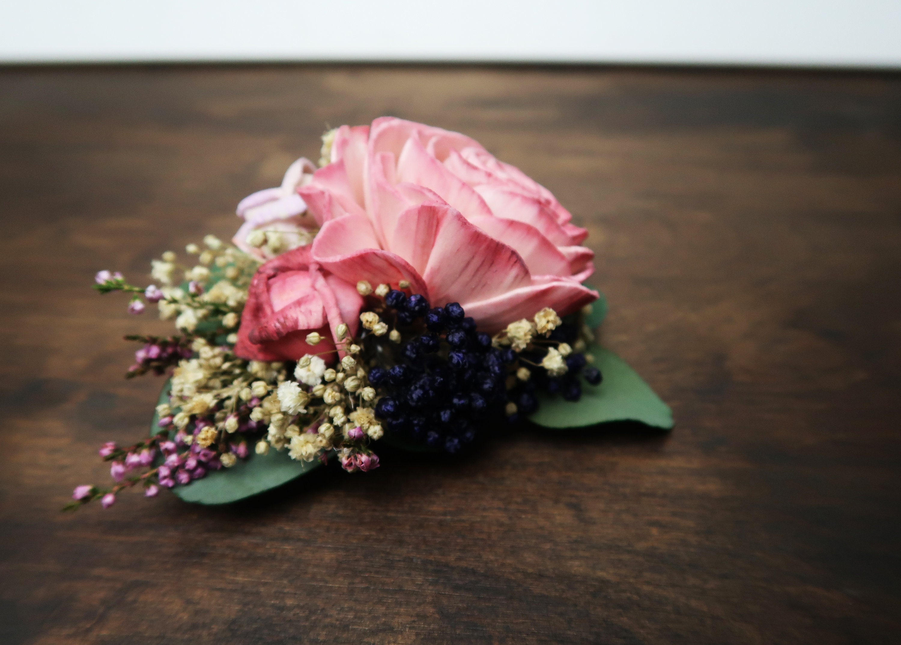 Floral brooch corsage pink sola rose preserved eucalyptus lavender floral brooch corsage pink sola rose preserved eucalyptus lavender blue rice flowers gypsophila mother of bride corsage vintage style mightylinksfo