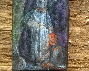 Miniature painting, dollhouse,art, ghost, cemetery,wall art,goth,gothic,decor, haunted, Halloween, supernatural, painting