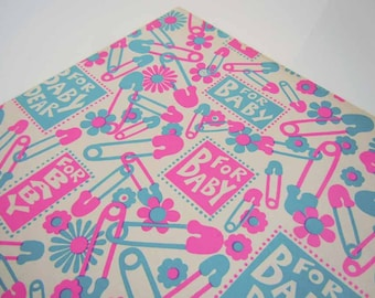 Vintage 1960s Baby Shower Wrapping Paper Pink Blue Congratulations New Baby Safety Pins Gift Wrap