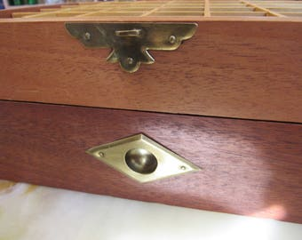 Wood and Brass Jewelry Box with Drawer