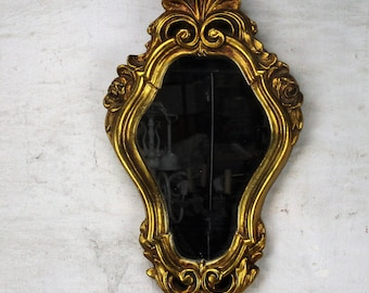 Lovely Ornate Oval Plaster Wood Wall Hanging Mirror Romantic Hollywood Regency