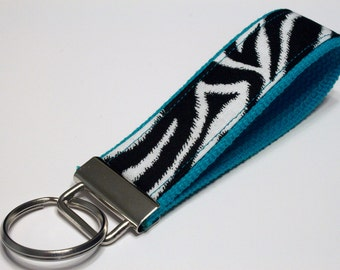 Fabric Key Fob, Key Chain, Key Ring, Key Holder, Wristlet Key Fob, Wristlet Keychain, Fabric Key fobs-Zebra teal