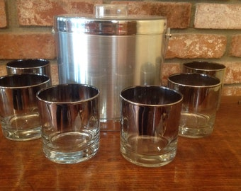 Vintage Mid Century Georges Briard Silver Ice Bucket With 6 Silver Fade Rim Glasses Tumblers Set Dorothy Thorpe