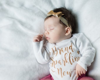Newborn girl bodysuit Brand Sparkling New , newborn girl gown, Baby shower gift, baby girl take home outfit, newborn girl hospital outfit