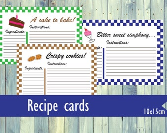 Printable recipe cards. 10 recipe cards to save amazing recipes. Printable cards for recipes. 10 x 15 cm recipe cards.