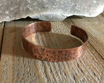 Copper Cuff Bracelet Hand Formed Copper Sheet Rectangles and Dots Hammer Texture Hand Crafted