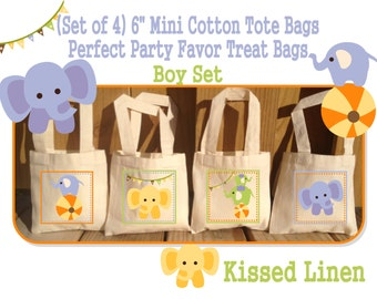 Elephant Babies Circus Treat Favor Gift Bags Mini Cotton Totes Children Kids Birthday Party Baby Bridal Shower Set of 4 or 8