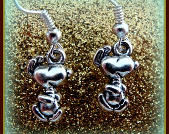 Dancing Happy SNOOPY (Peanut's) EARRINGS Jewelry - Charlie Browns Snoopy the dog