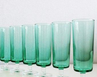 Green Champagne Glasses Set, Luminarc Green Stem Champagne Flutes Set of 6, Vintage Barware Glasses, French Vintage Glasses Green Stemware