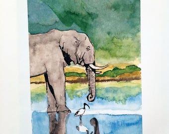 Reflection Elephant Print
