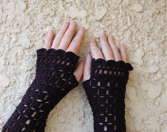 Black hand crocheted mittens