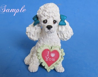 White French Poodle dog DOG I Love (heart) You Sculpture Choose Bow Color Clay art by Sallys Bits of Clay