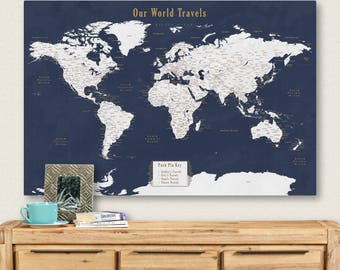 Travel map etsy push pin personalized world map push pin travel map for push pins map with cities push gumiabroncs Images