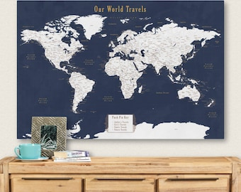 Push pin map etsy push pin personalized world map push pin travel map for push pins map with cities push gumiabroncs Gallery
