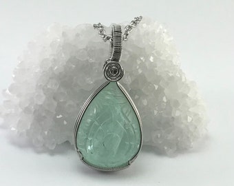 Wire Wrapped Carved Green Fluorite Pendant in Stainless Steel - one of a kind - P324