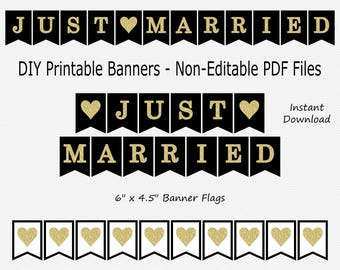 Just Married Banner - Black & Gold Glitter - Heart - Wedding Photo Prop - PRINTABLE - INSTANT DOWNLOAD