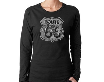 Women's Long Sleeve T-Shirt - Popular Roadside Attractions & Stops Along Route 66