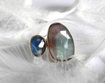 Stacked Labradorite and Sapphire Gemstone Ring, Recycled 14k Gold handmade Stacking ring, Diamond Alternative Ring, Large gemstone ring