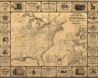 Poster, Many Sizes Available; Railroad Map Of The United States Of America 1857
