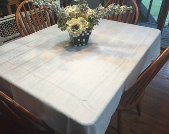 Vintage White Damask Lunchen Dining Tablecloth for housewares and home decor, very shabby chic by MarlenesAttic
