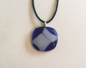 Blue and white fused glass necklace