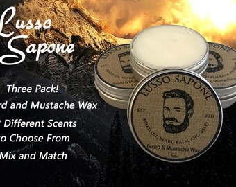 3 Pack Hand Crafted Lusso Sapone Beard & Mustache Wax (You Choose the Scent)